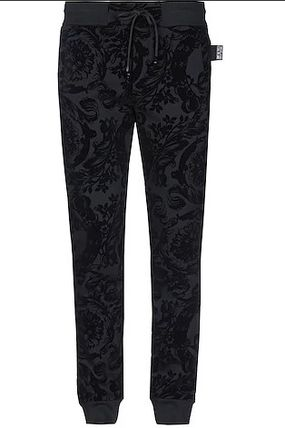 VERSACE JEANS Tapered Pants Flower Patterns Sweat Cotton Logo