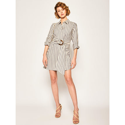 Short Stripes Casual Style A-line Flared V-Neck Cropped