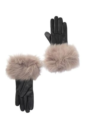 UGG Australia Wool Cashmere Plain Leather Leather & Faux Leather Gloves