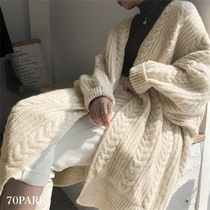 Cable Knit Long Sleeves Long Sweaters