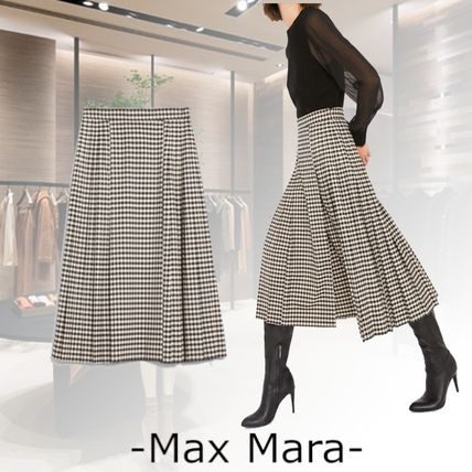 Flared Skirts Other Plaid Patterns Casual Style