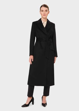 Casual Style Wool Plain Long Office Style Coats