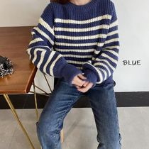 Crew Neck Cable Knit Stripes Casual Style Nylon Long Sleeves