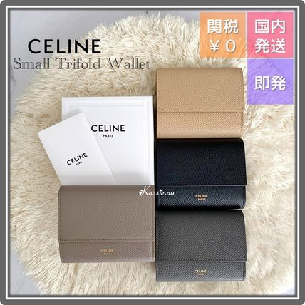CELINE Tri Fold Folding Wallet Small Wallet Logo Leather Folding Wallets