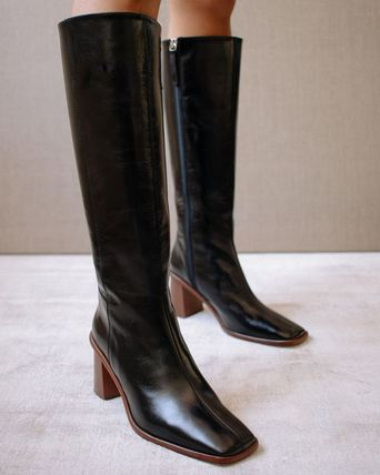 ALOHAS Casual Style Plain Leather Block Heels Over-the-Knee Boots