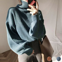 Casual Style Rib Long Sleeves Plain Medium Oversized
