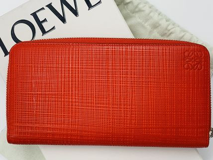 LOEWE Unisex Plain Leather Logo Long Wallets