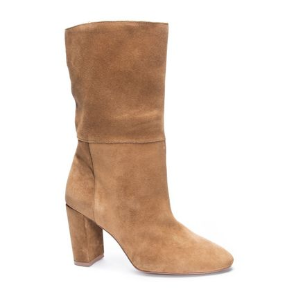 Cowboy Boots Casual Style Suede Plain Leather Block Heels