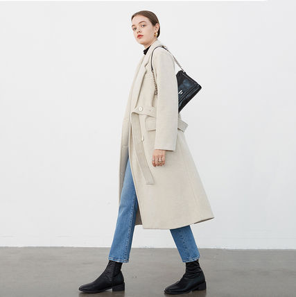 Stand Collar Coats Casual Style Wool Street Style Plain Long
