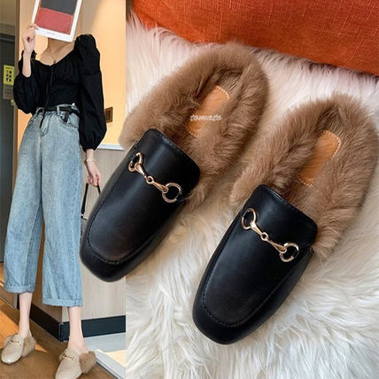 Square Toe Casual Style Faux Fur Plain Sabo Slippers Sandals