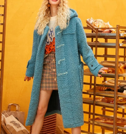 ELF SACK Casual Style Street Style Plain Icy Color Duffle Coats