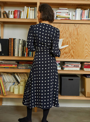Wrap Dresses Dots Casual Style Flared V-Neck Cropped Long