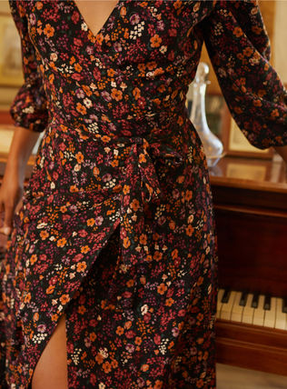 Wrap Dresses Flower Patterns Casual Style Flared V-Neck