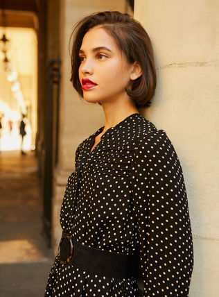 Crew Neck Dots Maxi Flared Long Sleeves Long Party Style