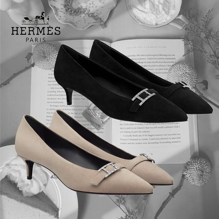 HERMES Casual Style Suede Blended Fabrics Street Style Plain