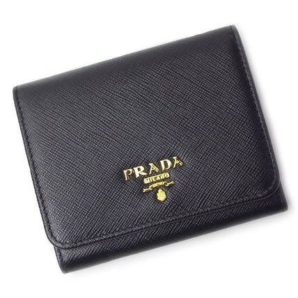 PRADA SAFFIANO LUX Unisex Saffiano Blended Fabrics Plain Leather Folding Wallet