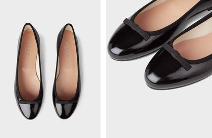Hobbs London Enamel Plain Leather Ballet Shoes