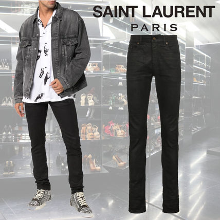 Saint Laurent Plain Cotton Skinny Jeans