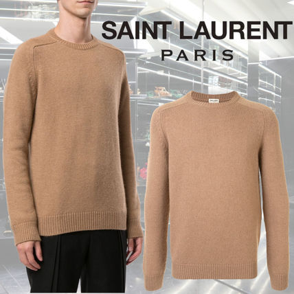 Saint Laurent Crew Neck Long Sleeves Plain Luxury Sweaters