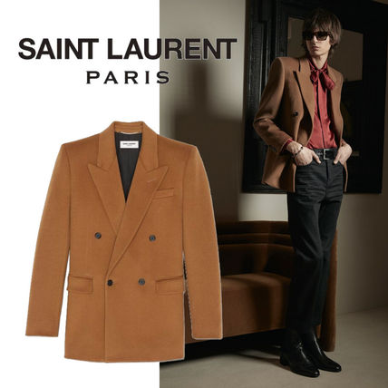 Saint Laurent Wool Cashmere Plain Blazers Jackets