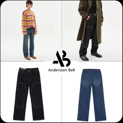 ANDERSSON BELL More Jeans Unisex Street Style Plain Logo Jeans