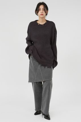 Raucohouse Sweaters Long Sleeves Plain Oversized Sweaters 3
