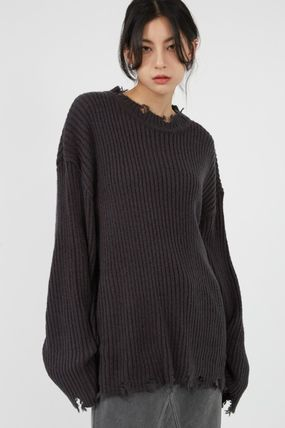 Raucohouse Sweaters Long Sleeves Plain Oversized Sweaters 4