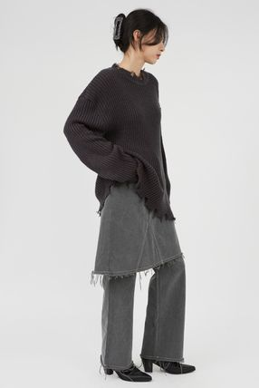 Raucohouse Sweaters Long Sleeves Plain Oversized Sweaters 5