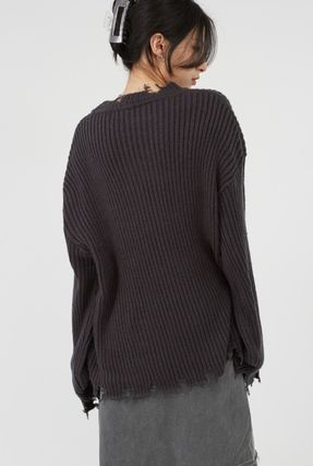 Raucohouse Sweaters Long Sleeves Plain Oversized Sweaters 6