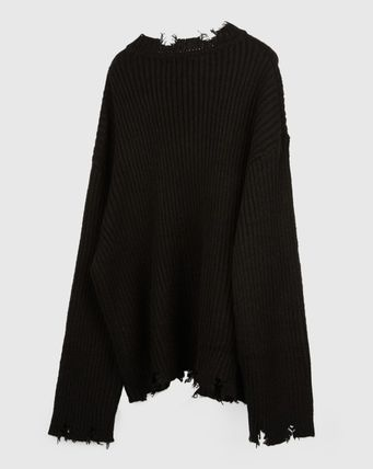 Raucohouse Sweaters Long Sleeves Plain Oversized Sweaters 13