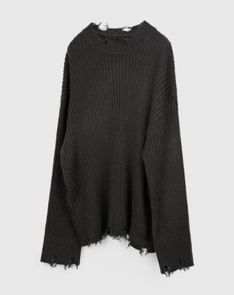 Raucohouse Sweaters Long Sleeves Plain Oversized Sweaters 14