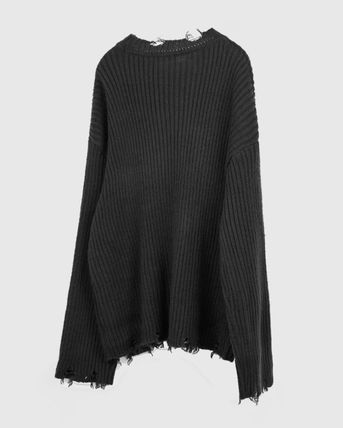 Raucohouse Sweaters Long Sleeves Plain Oversized Sweaters 15