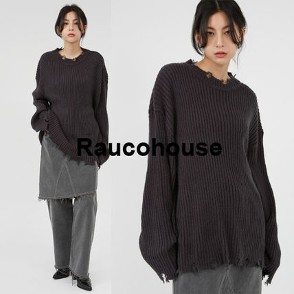 Raucohouse Sweaters Long Sleeves Plain Oversized Sweaters