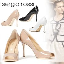 Sergio Rossi Open Toe Plain Leather Party Style Elegant Style