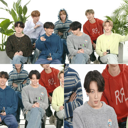 ★ANDERSSON BELL★BTS JUNGKOOK DAMAGED CREW NECK SWEATER