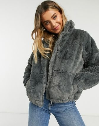 Casual Style Faux Fur Street Style Plain Medium Office Style