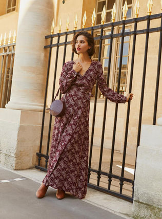 Flower Patterns Maxi Flared V-Neck Long Sleeves Long