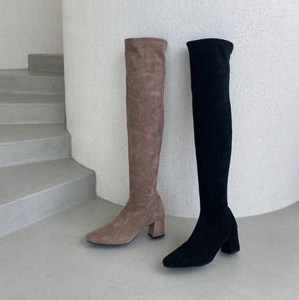 Plain Toe Suede Faux Fur Chunky Heels Over-the-Knee Boots
