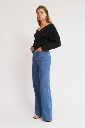 Casual Style V-Neck Long Sleeves Plain Off the Shoulder