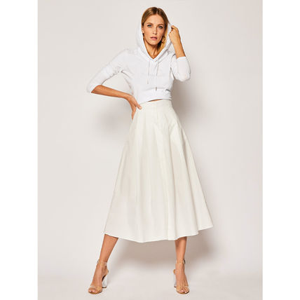 Flared Skirts Casual Style Plain Cotton Medium Long Midi