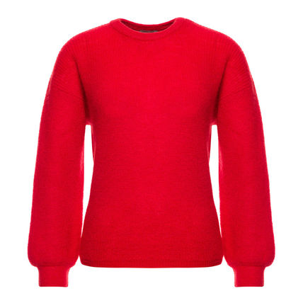 Crew Neck Short Casual Style Wool U-Neck Long Sleeves Plain