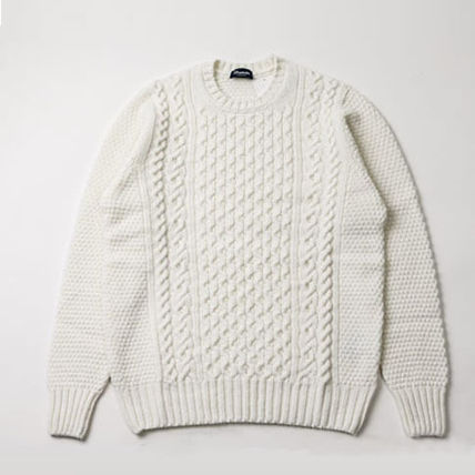 Crew Neck Cable Knit Wool Long Sleeves Plain Handmade