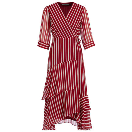 Wrap Dresses Stripes Casual Style A-line Flared V-Neck