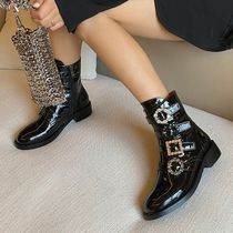 Square Toe Platform Mountain Boots Lace-up Casual Style