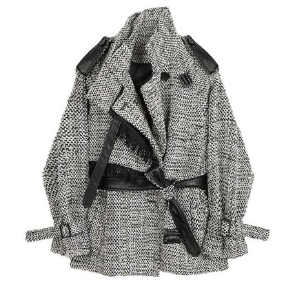 Stand Collar Coats Tartan Casual Style Wool Tweed