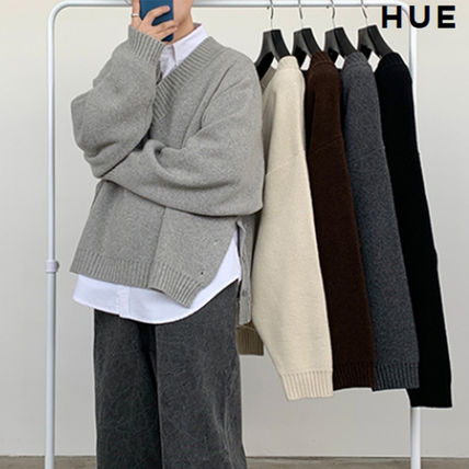 HUE Sweaters Wool Street Style V-Neck Collaboration Long Sleeves Plain
