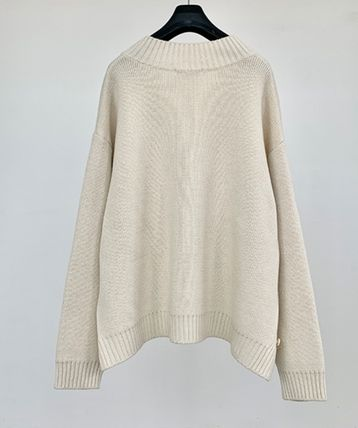 Wool Street Style V-Neck Collaboration Long Sleeves Plain