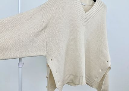 HUE Sweaters Wool Street Style V-Neck Collaboration Long Sleeves Plain 4