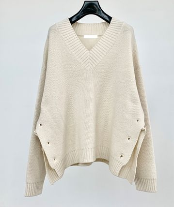 HUE Sweaters Wool Street Style V-Neck Collaboration Long Sleeves Plain 5