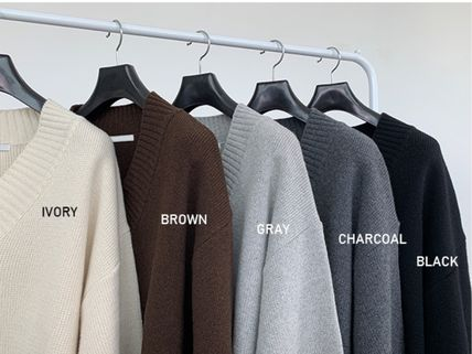 HUE Sweaters Wool Street Style V-Neck Collaboration Long Sleeves Plain 6